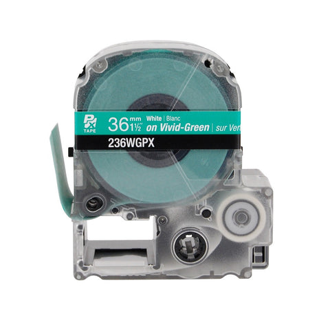 "Epson 1-1/2"" White on Green Tape - 236WGPX"