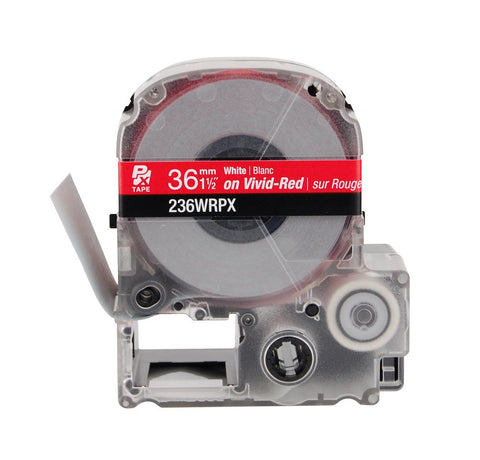 "Epson 1-1/2"" White on Red Tape - 236WRPX"