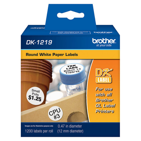 "Brother White 1/2"" Round Paper Labels - DK1219"