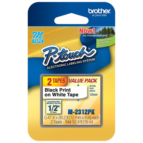 "Brother 1/2"" Black on White Tape (2-Pack) - M2312PK"