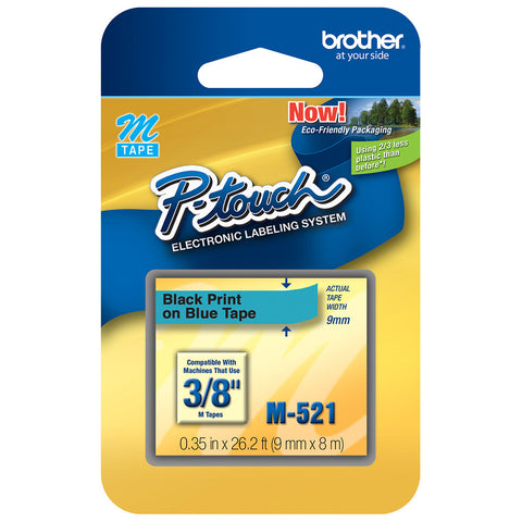 "Brother 3/8"" Black on Metallic Blue Tape - M521"