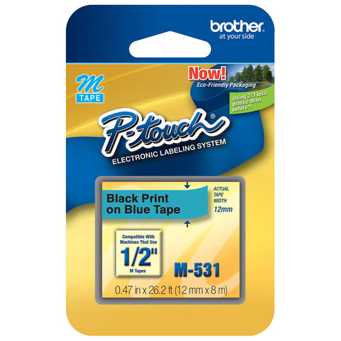 "Brother 1/2"" Black on Metallic Blue Tape - M531"