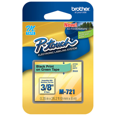 "Brother 3/8"" Black on Metallic Green Tape - M721"