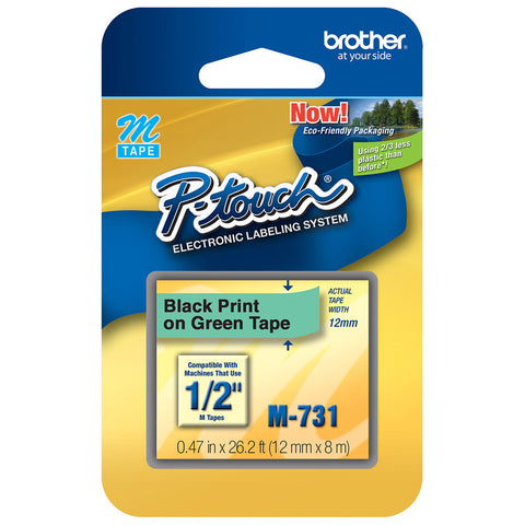 "Brother 1/2"" Black on Metallic Green Tape - M731"