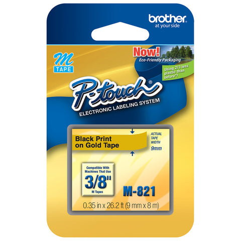 "Brother 3/8"" Black on Gold Tape - M821"