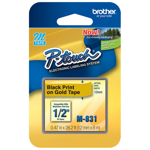 "Brother 1/2"" Black on Gold Tape - M831"
