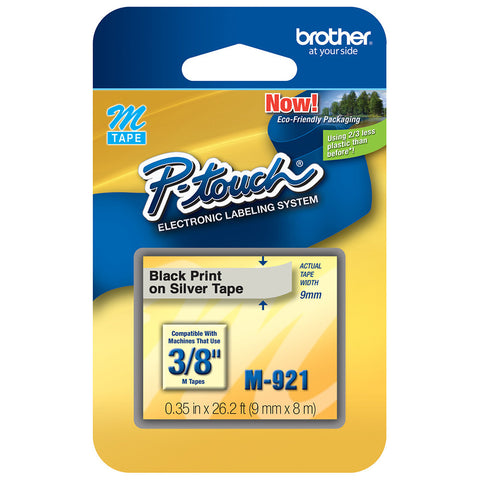 "Brother 3/8"" Black on Silver Tape - M921"