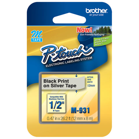 "Brother 1/2"" Black on Silver Tape - M931"