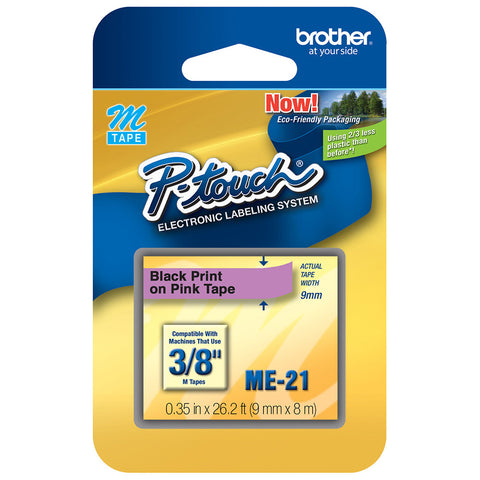 "Brother 3/8"" Black on Metallic Pink Tape - ME21"