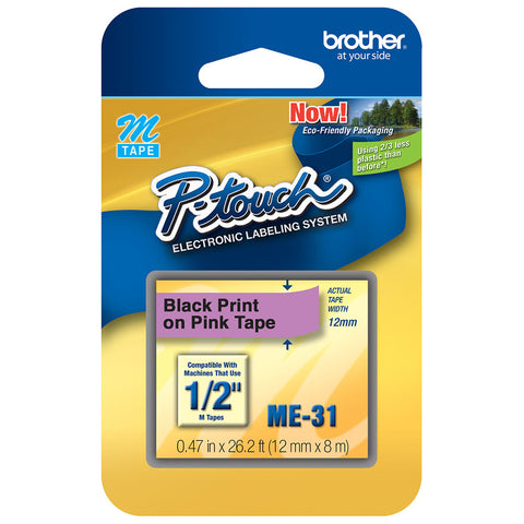 "Brother 1/2"" Black on Metallic Pink Tape - ME31"