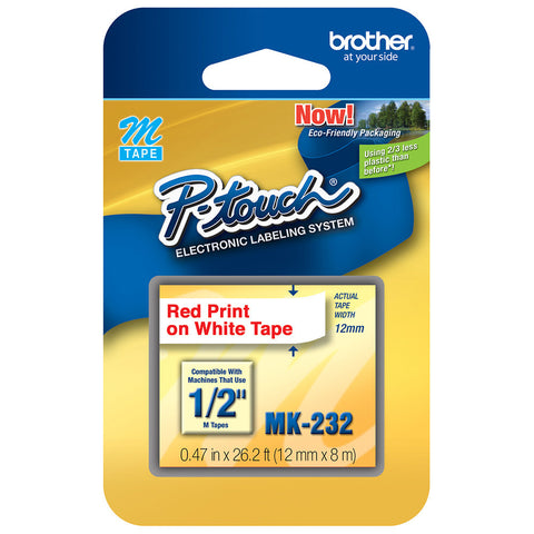 "Brother 1/2"" Red on White Tape - MK232"