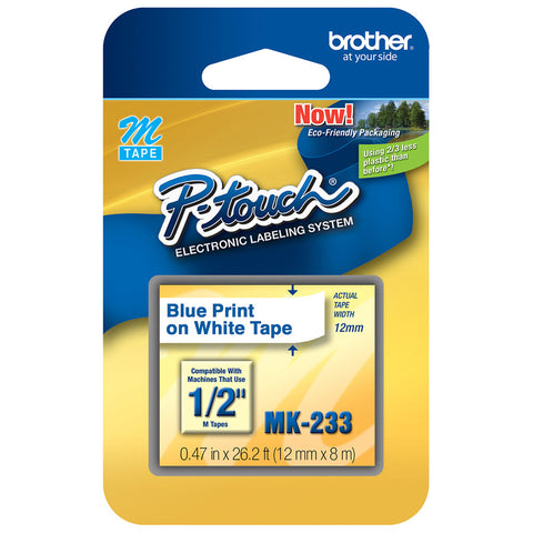 "Brother 1/2"" Blue on White Tape - MK233"
