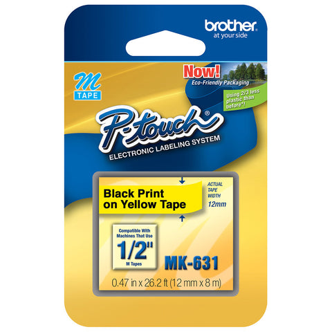"Brother 1/2"" Black on Yellow Tape - MK631"