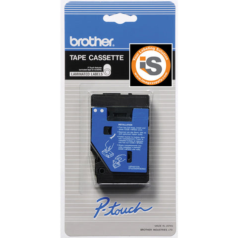 "Brother 3/8"" White on Blue Tape - TC64Z1"