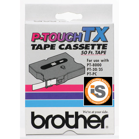 "Brother 1"" Red on Clear Tape - TX1521"