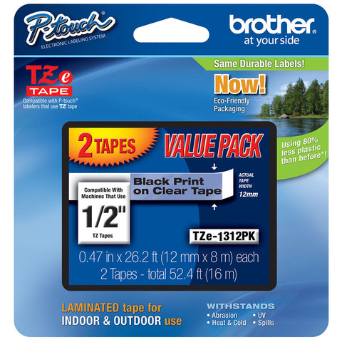 "Brother 1/2"" Black on Clear Tape (2-Pack) - TZe1312PK"