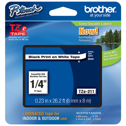"Brother 1/4"" Black on White Tape - TZe211"
