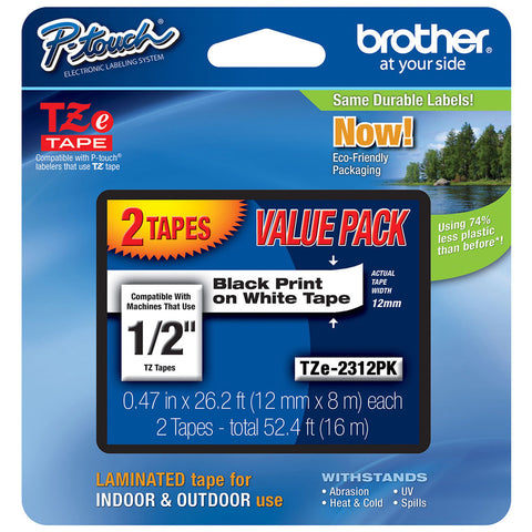 "Brother 1/2"" Black on White Tape (2-Pack) - TZe231-2PK"