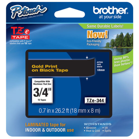 "Brother 3/4"" Gold on Black Tape - TZe344"