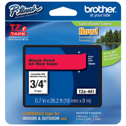 "Brother 3/4"" Black on Red Tape - TZe441"