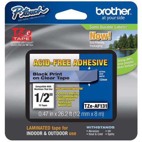 "Brother 1/2"" Black on Clear ""Acid Free"" Tape - TZeAF131"