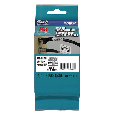 "Brother 1 1/2"" Black on White Flexible ID Tape - TZeFX261"