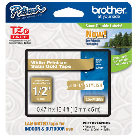"Brother 1/2"" White on Satin Gold Tape - TZeMQ835"