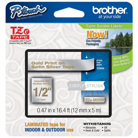 "Brother 1/2"" Gold on Satin Silver Tape - TZeMQ934"