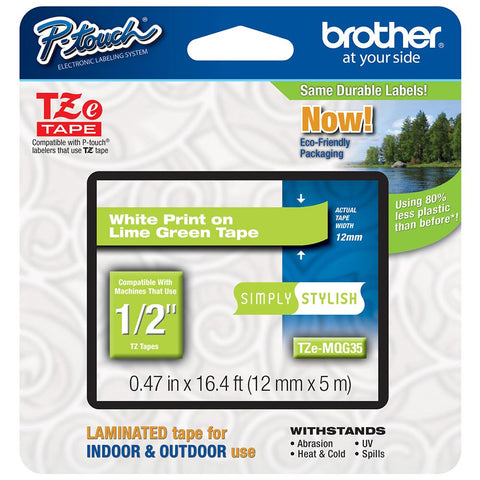 "Brother 1/2"" White on Lime Green Tape - TZeMQG35"