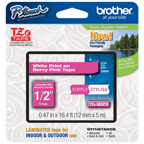 "Brother 1/2"" White on Berry Pink Tape - TZeMQP35"