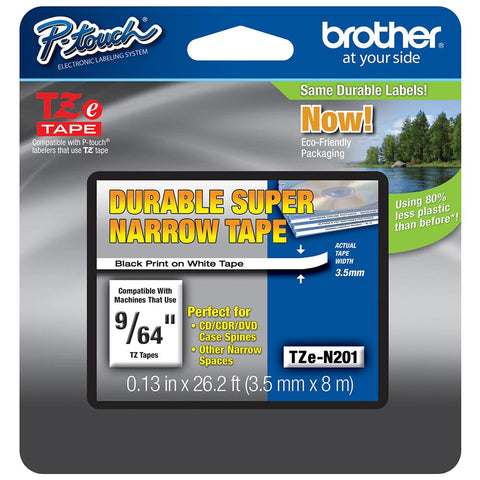 "Brother 9/64"" Black on White Non-Laminated Tape - TZeN201"