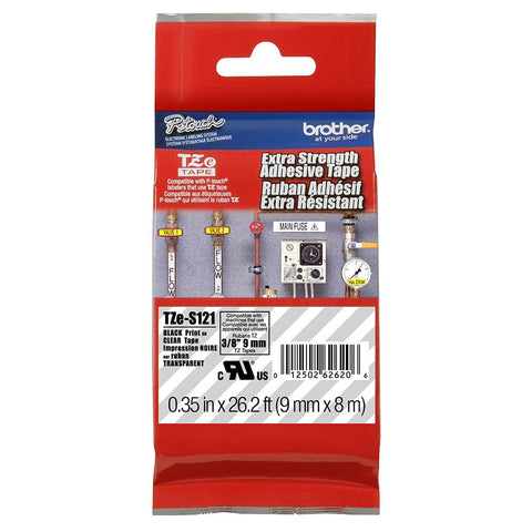 "Brother 3/8"" Black on Clear Extra Strength Adhesive Tape - TZeS121"