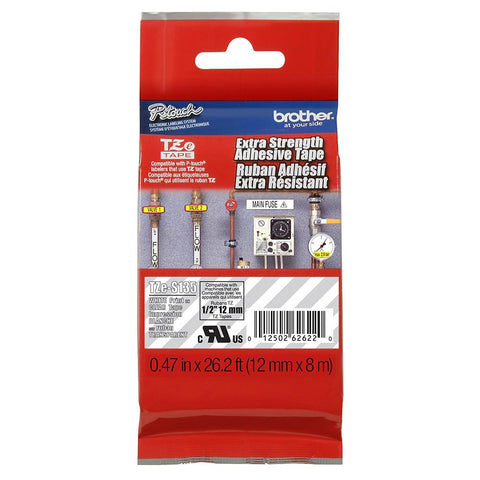 "Brother 1/2"" White on Clear Extra Strength Adhesive Tape - TZeS135"