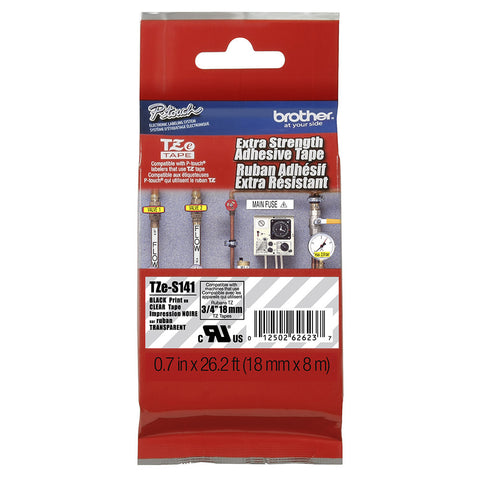 "Brother 3/4"" Black on Clear Extra Strength Adhesive Tape - TZeS141"