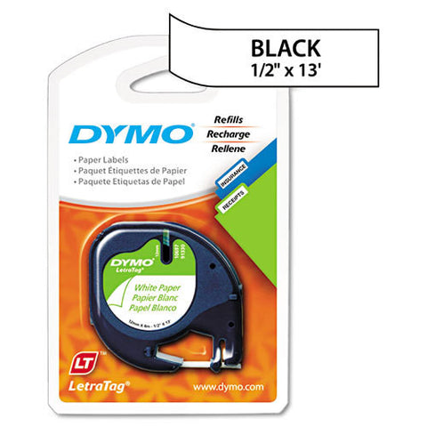 "Dymo LetraTag 1/2"" Black on White Paper Tape (2-Pack) - 10697"