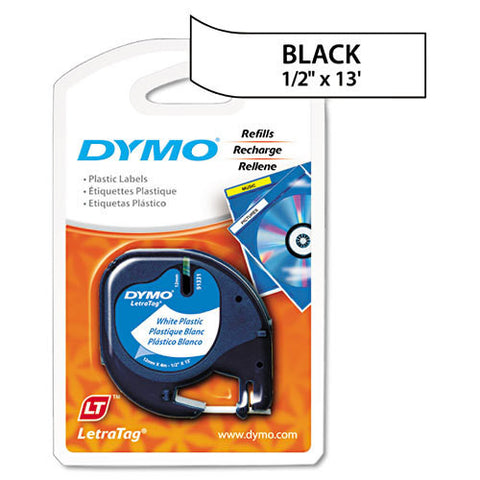 "Dymo LetraTag 1/2"" Black on White Plastic Tape - 91331"