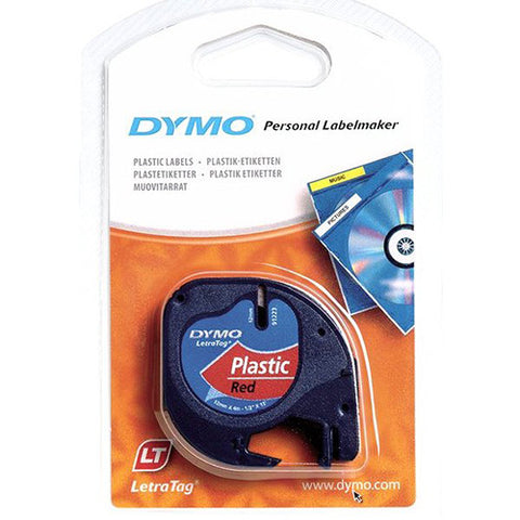 "Dymo LetraTag 1/2"" Black on Red Plastic Tape - 91333"