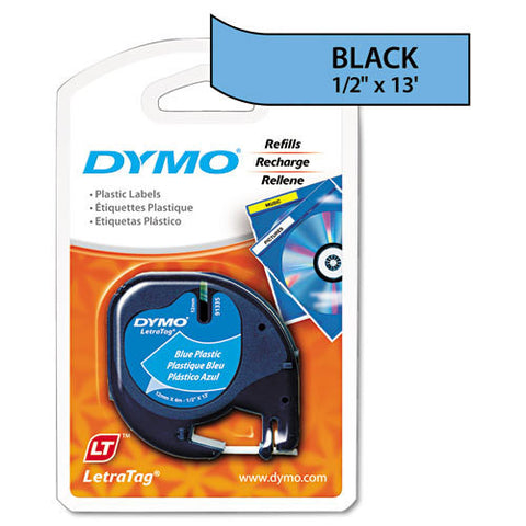 "Dymo LetraTag 1/2"" Black on Blue Plastic Tape - 91335"