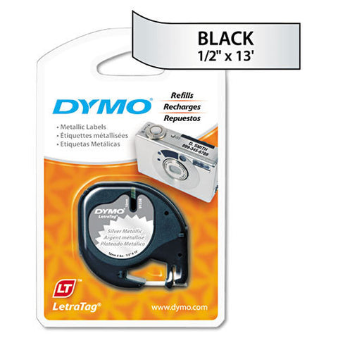 "Dymo LetraTag 1/2"" Black on Metallic Silver Plastic Tape - 91338"