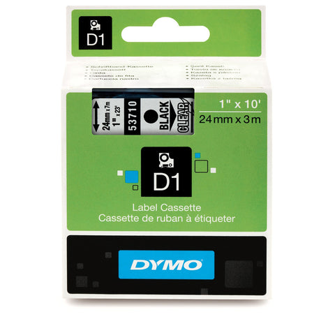 "Dymo 1"" Black on Clear D1 Tape - 53710"