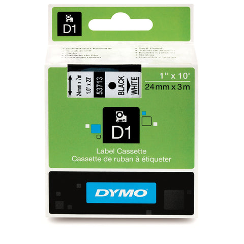 "Dymo 1"" Black on White D1 Tape - 53713"