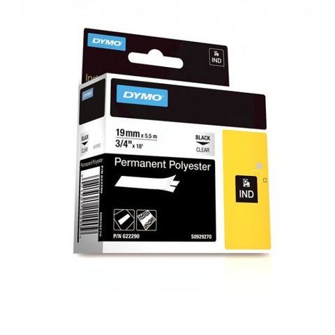"Dymo RhinoPro 3/4"" Black on Clear Permanent Polyester Tape - 622290"