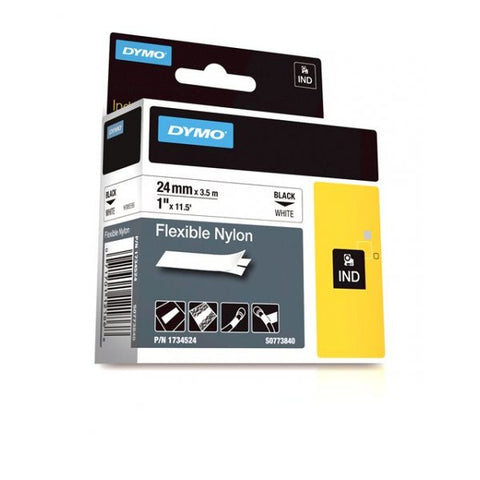 "Dymo RhinoPro 1"" Black on White Flexible Nylon Tape - 1734524"