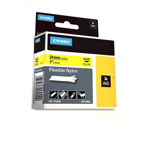 "Dymo RhinoPro 1"" Black on Yellow Flexible Nylon Tape - 1734525"