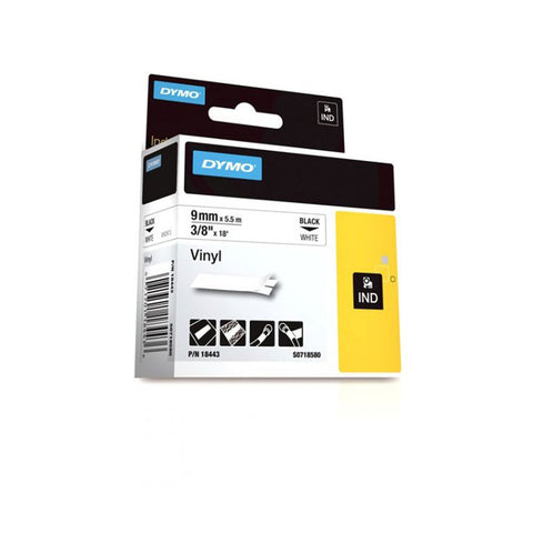 "Dymo RhinoPro 3/8"" Black on White Vinyl Tape - 18443"