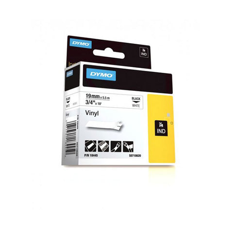 "Dymo RhinoPro 3/4"" Black on White Vinyl Tape - 18445"