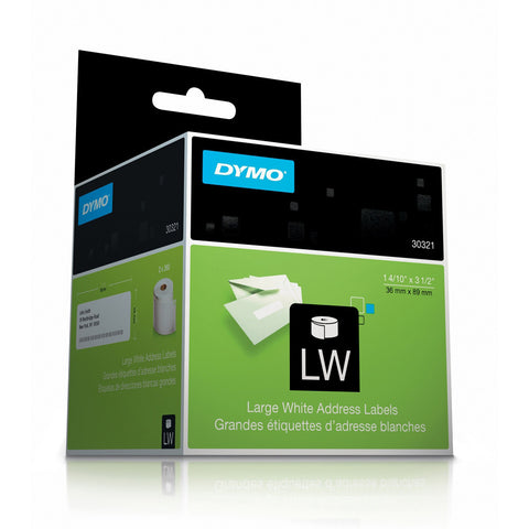 "Dymo 30321 White Large Address Labels 1 4/10"" X 3 1/2"""