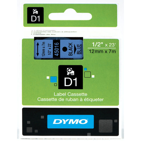 "Dymo 1/2"" Black on Blue D1 Tape - 45016"