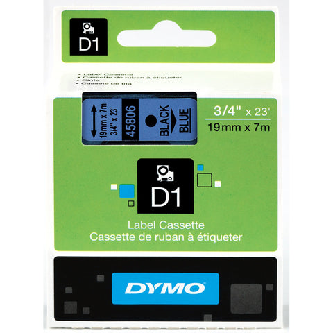 "Dymo 3/4"" Black on Blue D1 Tape - 45806"