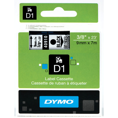 "Dymo 3/8"" Black on Clear D1 Tape - 40910"